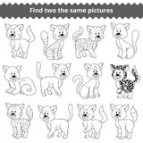 Find two the same pictures, game for children, cat Royalty Free Stock Photos