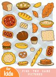 Find two the same pictures, game for children. Color set of bakery products. Find two the same pictures, education game for children. Color set of bakery stock illustration