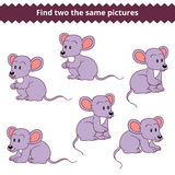 Find two the same pictures, game for children, mouse. Find two the same pictures, education game for children, mouse Royalty Free Stock Photos