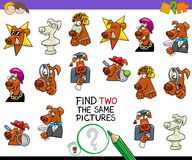 Find two the same pictures game with dogs. Cartoon Illustration of Finding Two Identical Pictures Educational Activity Game for Children with Dog Characters Stock Photography