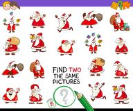 Find two the same pictures game with santa Royalty Free Stock Image