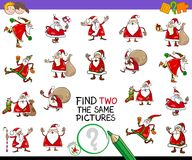 Find two the same pictures game with santa claus Stock Images