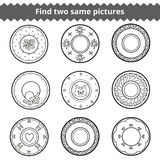 Find two same pictures, plates with animals and geometric orname Stock Images
