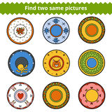 Find two same pictures, plates with ornaments Stock Images