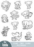 Find two the same pictures. Set of cartoon cute animals. Find two the same pictures, education game for children. Black and white set of cartoon cute animals royalty free illustration