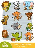 Find two the same pictures. Set of cartoon cute animals. Find two the same pictures, education game for children. Colorful set of cartoon cute animals vector illustration