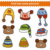 Find two same pictures, set of knitted hats Stock Photography