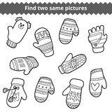 Find two same pictures, set of knitted mittens Royalty Free Stock Images