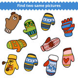 Find two same pictures, set of knitted mittens Stock Photo