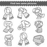 Find two same pictures, set of knitted scarves Stock Images