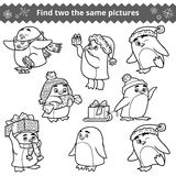 Find two the same pictures, set of penguins. Find two the same pictures, education game for children. Set of penguins with Christmas gifts Royalty Free Stock Image
