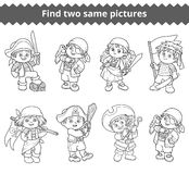 Find two same pictures. Vector characters of pirates Stock Images