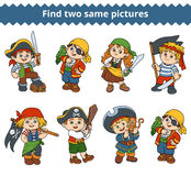 Find two same pictures. Vector characters of pirates. Find two same pictures, education game for children. Vector black and white characters of pirates Stock Photo