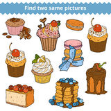 Find two same pictures. Vector color set of cakes and cupcakes. Find two same pictures, education game for children. Vector color set of cakes and cupcakes Stock Photography