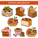 Find two same pictures. Vector color set of cakes and cupcakes Stock Photo