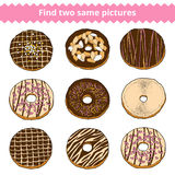Find two same pictures. Vector color set of donuts. Find two same pictures, education game for children. Vector color set of donuts Stock Photo
