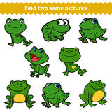 Find two same pictures. Vector color set of frogs Stock Image