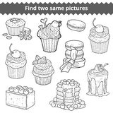 Find two same pictures. Vector colorless set of cakes. Find two same pictures, education game for children. Vector black and white set of cakes and cupcakes Stock Photography