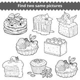 Find two same pictures. Vector colorless set of cakes. Find two same pictures, education game for children. Vector black and white set of cakes and cupcakes Royalty Free Stock Image