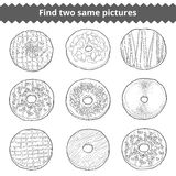 Find two same pictures. Vector colorless set of donuts. Find two same pictures, education game for children. Vector colorless set of donuts Stock Image