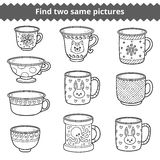 Find two same pictures, Vector set of dishes Stock Image