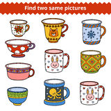 Find two same pictures, Vector set of dishes Stock Photo