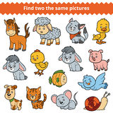Find two the same pictures, vector set of farm animals Stock Photo