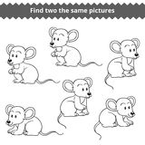 Find two the same pictures, vector set of mice. Find two the same pictures, education game for children, vector set of mice Royalty Free Stock Photo