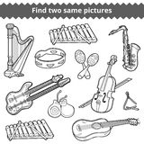 Find two same pictures. Vector set of musical instruments. Find two same pictures, education game for children. Vector set of musical instruments Stock Images