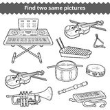 Find two same pictures. Vector set of musical instruments. Find two same pictures, education game for children. Vector set of musical instruments Stock Photos