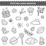 Find two same pictures. Vector set of natural items Stock Photography