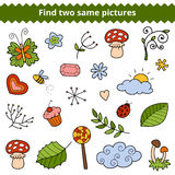 Find two same pictures. Vector set of natural items Royalty Free Stock Photos