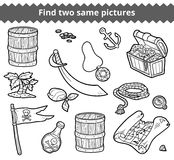 Find two same pictures. Vector set of pirate items. Find two same pictures, education game for children. Vector set of pirate items Royalty Free Stock Photography