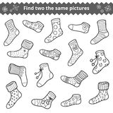 Find two the same pictures, vector set of socks Royalty Free Stock Photography