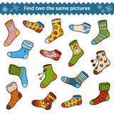 Find two the same pictures, vector set of socks Royalty Free Stock Image