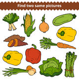 Find two same pictures. Vector set of vegetables. Find two same pictures, education game for children. Vector set of vegetables Stock Photography
