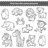 Find two the same pictures, vector set of zoo animals Stock Photography
