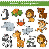 Find two the same pictures, vector set of zoo animals Stock Image