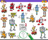 Find two same robot characters game for kids. Cartoon Illustration of Finding Two Same Pictures Educational Activity Game for Kids with Funny Robots Characters stock illustration