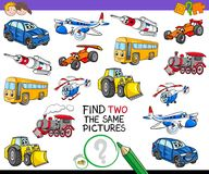 Find two the same vehicles activity game Stock Photos
