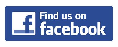 Find us on facebook. Logo on white background - editable vector illustration stock illustration