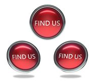 Find us glass button. Find us round shiny red 3 angle web icons with metal frame,3d rendered isolated on white background Stock Photography