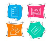 Find user, Money transfer and Interview icons. Sale ticket sign. Set of Find user, Money transfer and Interview icons. Sale ticket sign. Search person, Cashback Stock Photography