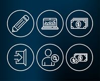 Find user, Web analytics and Banking icons. Pencil, Exit and Dollar money signs. Set of Find user, Web analytics and Banking icons. Pencil, Exit and Dollar Royalty Free Stock Images