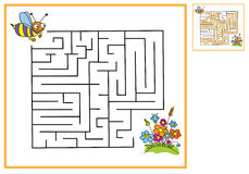 Find a way for bees to flowers. Maze game Royalty Free Stock Photo