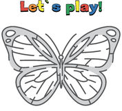 Find a way out of the butterfly maze. Game for kids Stock Photo