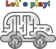 Find a way out of the car labyrinth. Game for kids. Go through the maze Royalty Free Stock Photo