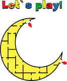 Find a way out of the moon labyrinth. Game for kids. Go through the maze Royalty Free Stock Photography