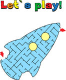 Find a way out of the rocket labyrinth. Game for kids. Go through the maze Royalty Free Stock Photo