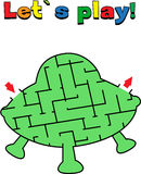 Find a way out of the rocket labyrinth. Game for kids. Go through the maze Stock Image